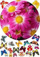 """Вафельная картинка """"Цветы"""" 33"""
