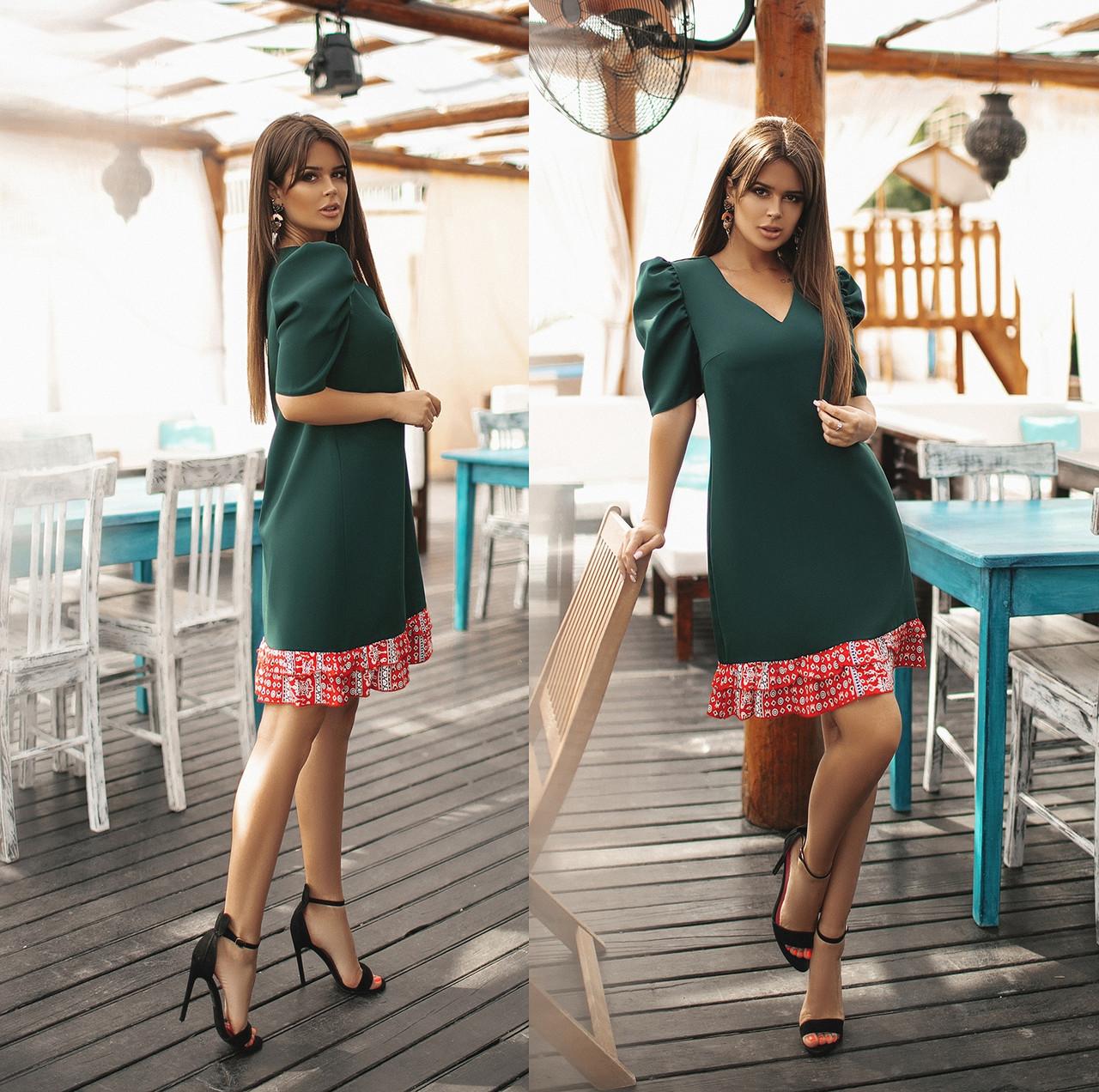 Платье  рюши в расцветках  82596Б