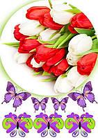 """Вафельная картинка """"Цветы"""" 34"""