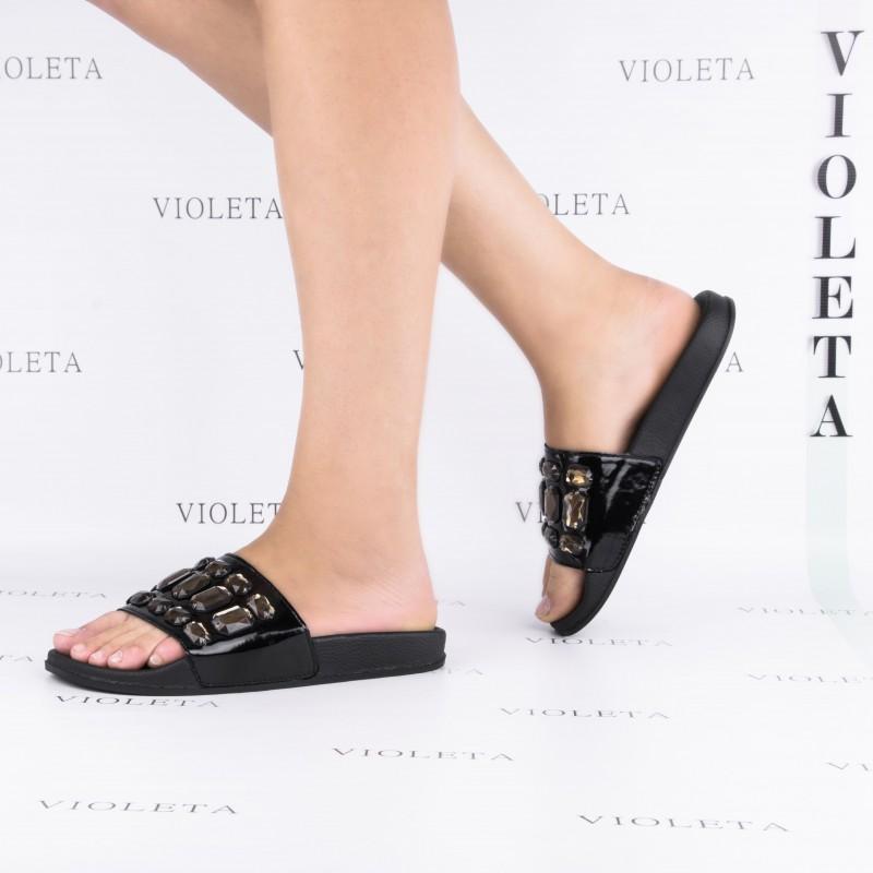 Акция черные шлепки с камнями (уличные тапки) женские в стиле Chanel шлепанцы тапочки