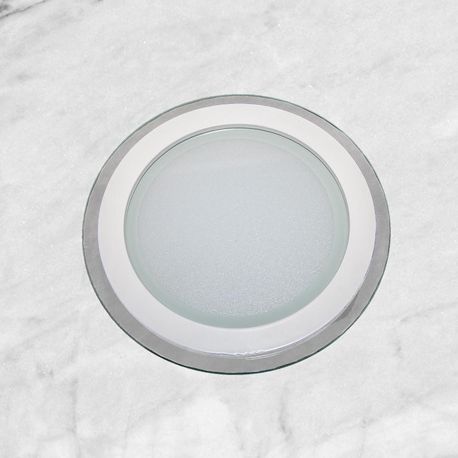 Врезной стеклянный светильник (круг, 20см, 15W, тёплый свет)