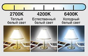Врезной стеклянный светильник (круг, 20см, 15W, тёплый свет), фото 2