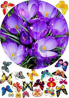 """Вафельная картинка """"Цветы"""" 35"""