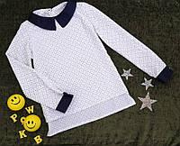 Блуза на девочку, длинный рукав, р. 128-146, белый, фото 1