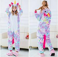 Кигуруми пижама флисовая Единорог (в звездочку) S, фото 1