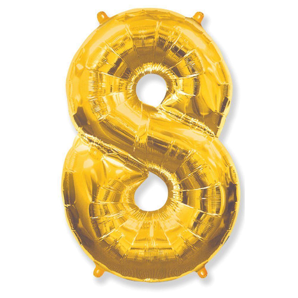 Фольгированный шар  цифра 8 золото 100 см, Flexmetal Испания