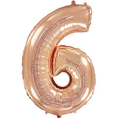 Фольгированный шар  цифра 6 розовое золото 100 см, Flexmetal Испания
