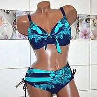 Размер 60! Красивый сине-голубой модельный женский купальник, формовая чашка, c цветочным рисунком.