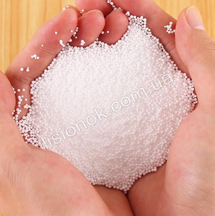 Микро-пенопластовые шарики для слаймов – 10 000 штук, для создания кранч слаймов (crunchy slime), белые