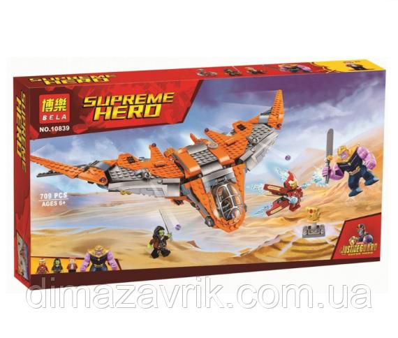 "Конструктор Bela 10839 (Аналог Lego Super Heroes 76107) ""Танос: последняя битва"" 709 деталей"