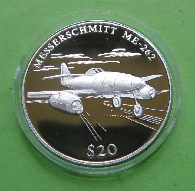Либерия 20 долларов 2000 г. Легенды авиации , самолёт Messershmitt ME-262
