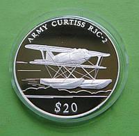 Либерия 20 долларов 2000 г. Легенды авиации , самолёт - амфибия