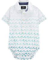 Детская боди-рубашка с коротким рукавом с морской тематикой  OshKosh для мальчика.