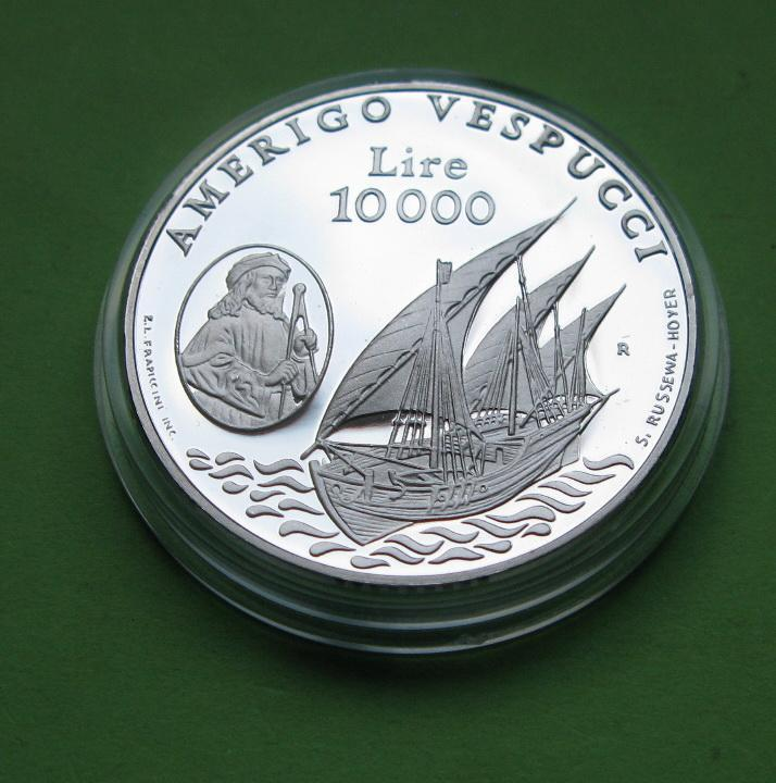 Сан Марино 10000 лир 1995 г. Парусник /корабль . Серебро 22 гр.