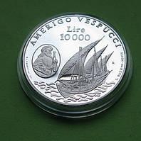 Сан Марино лір 10000 1995 р. Вітрильник /корабель . Срібло 22 гр., фото 1