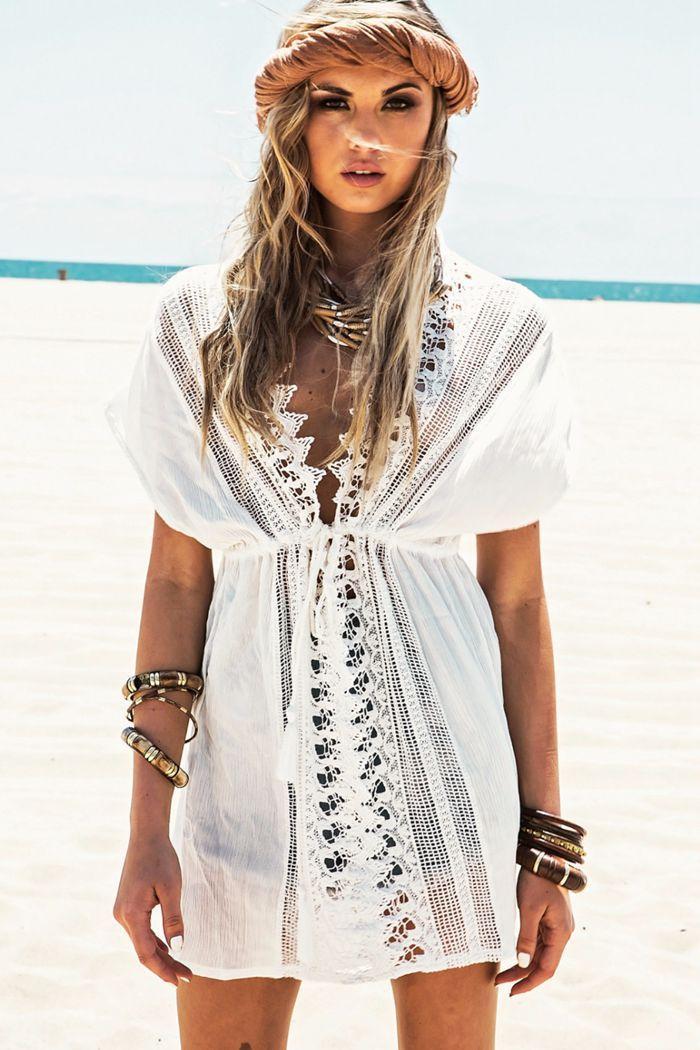 Белое кружевное платье-туника для пляжа Lace