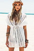 Белое кружевное платье-туника для пляжа Lace, фото 1