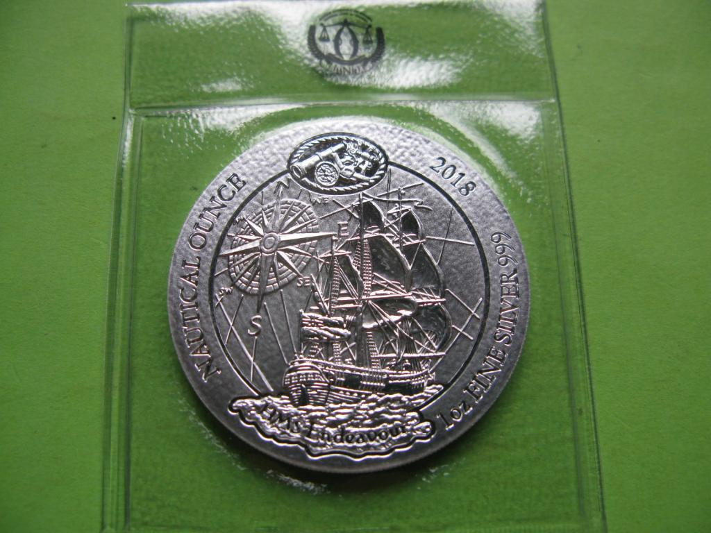 Руанда 50 франков 2018 г. Парусник / корабль. (серебро ,унция)