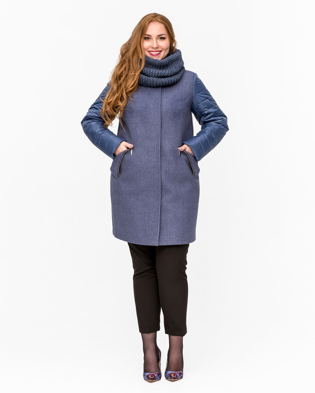 Демисезонное комбинированное пальто с хомутом
