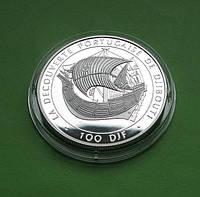 Джибути 100 франков 1996 г. Парусник /корабль . Серебро 31,47 гр., фото 1