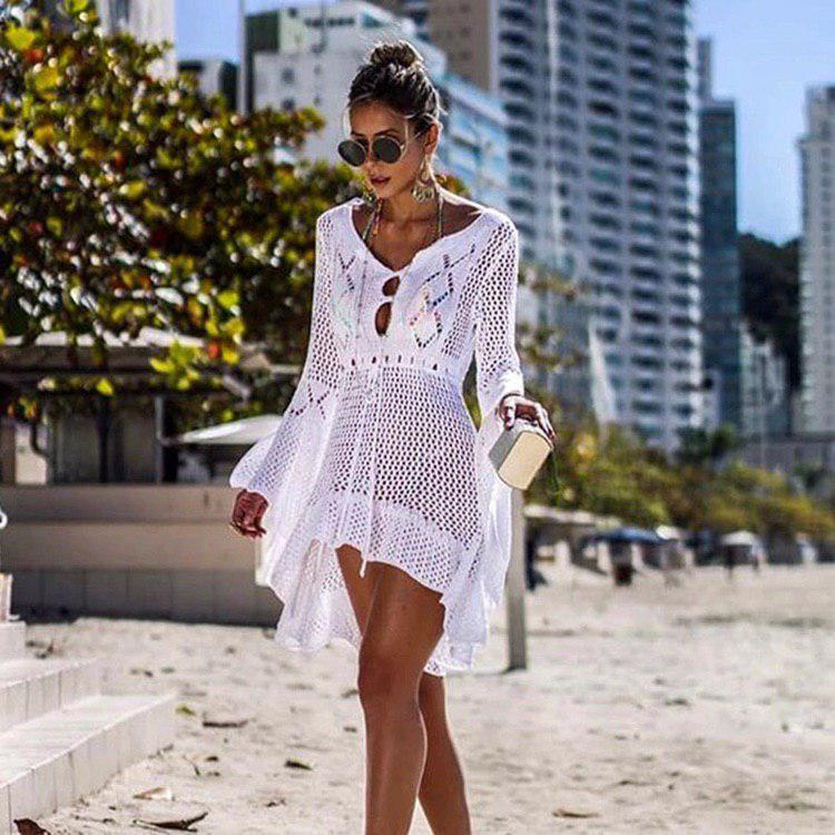 Белое кружевное платье-туника для пляжа Boho