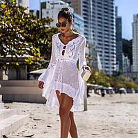 Белое кружевное платье-туника для пляжа Boho, фото 1