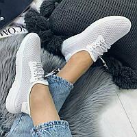36 размер Женские белые кроссовки сетка слипоны мокасины легкие летние дышащие перфорация