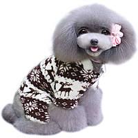 Флисовый комбинезон для собак «Олени», коричневый