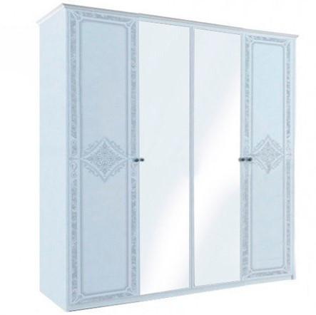"Шкаф ""Луиза 4 дв с зеркалом ""Белый глянец ТМ ""Миро марк"""