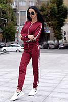 Бордовый спортивный костюм с белыми полосками, фото 1
