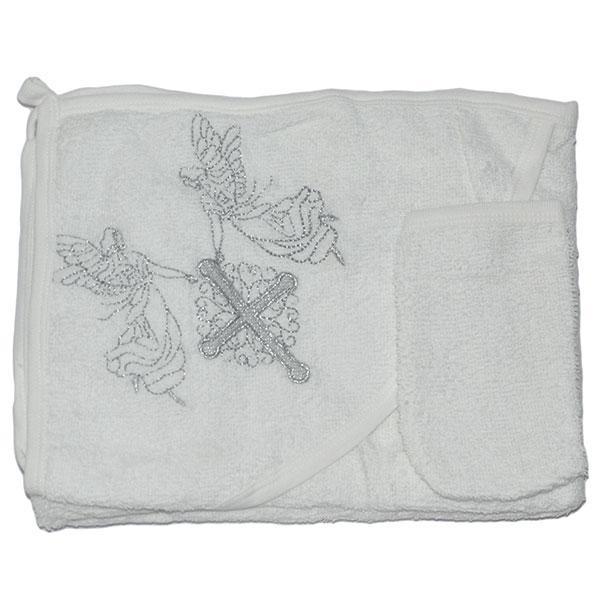 Полотенце(крыжма) с капюшоном и варежкой для купания , махра, размер 80х75 см (мин заказ 1 ед)