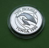 Тонга 2 паанга 1986 г. Фауна , киты