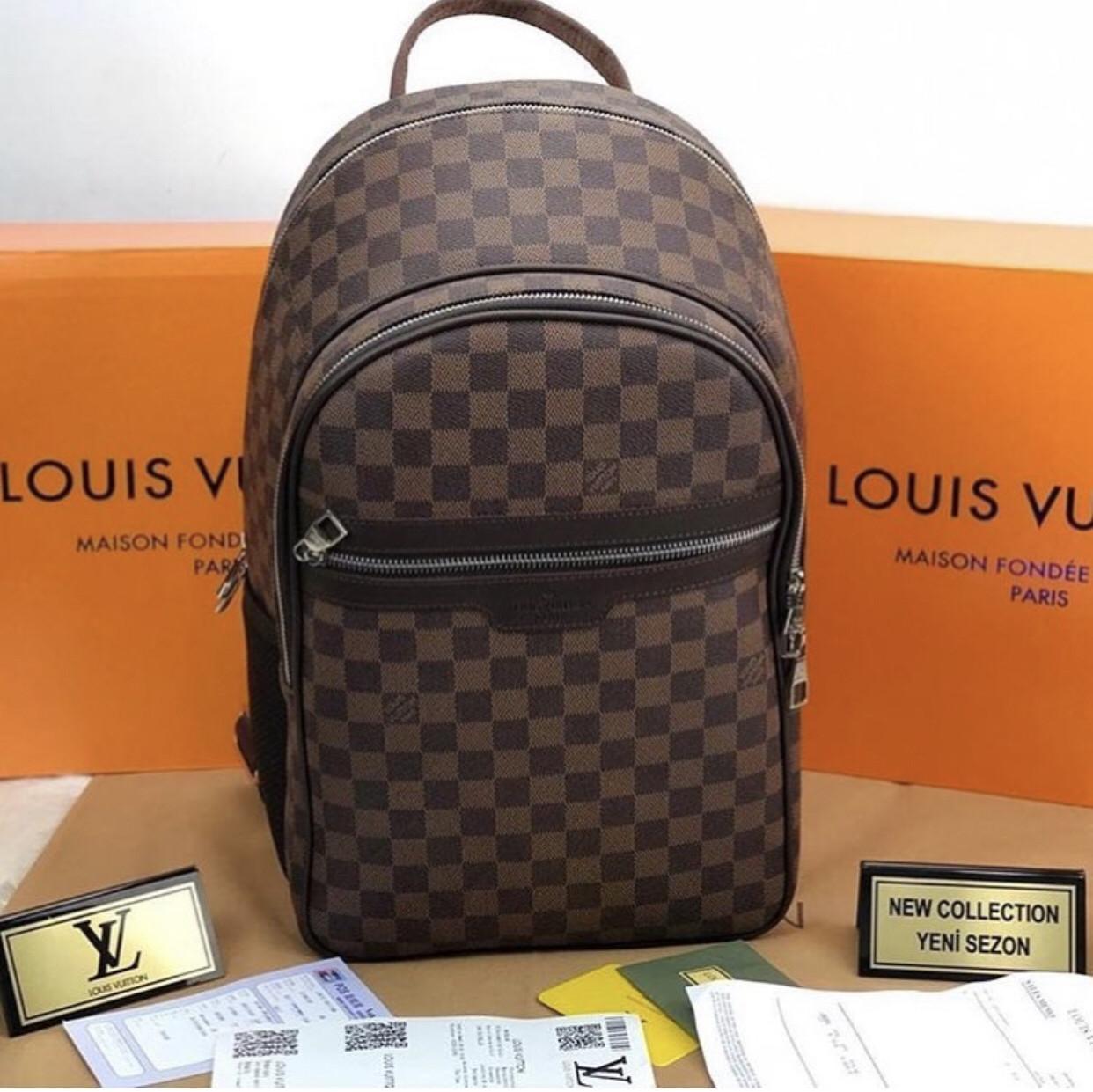 Рюкзак портфель мужской большой  Louis Vuitton Люкс (реплика Луи Витон) Brown