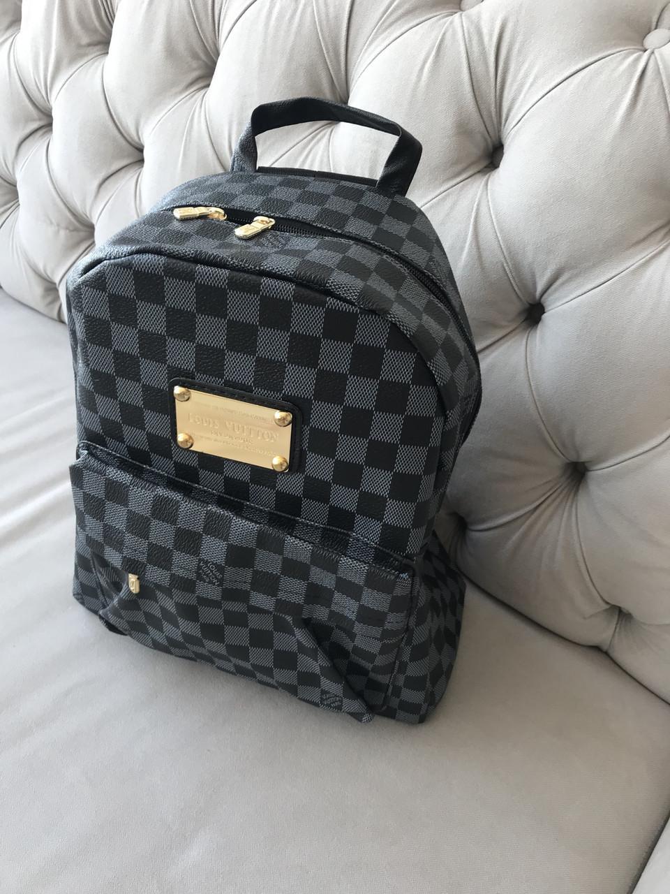 Рюкзак мужской портфель ранец черный Louis Vuitton  (реплика Луи Витон) в клетку