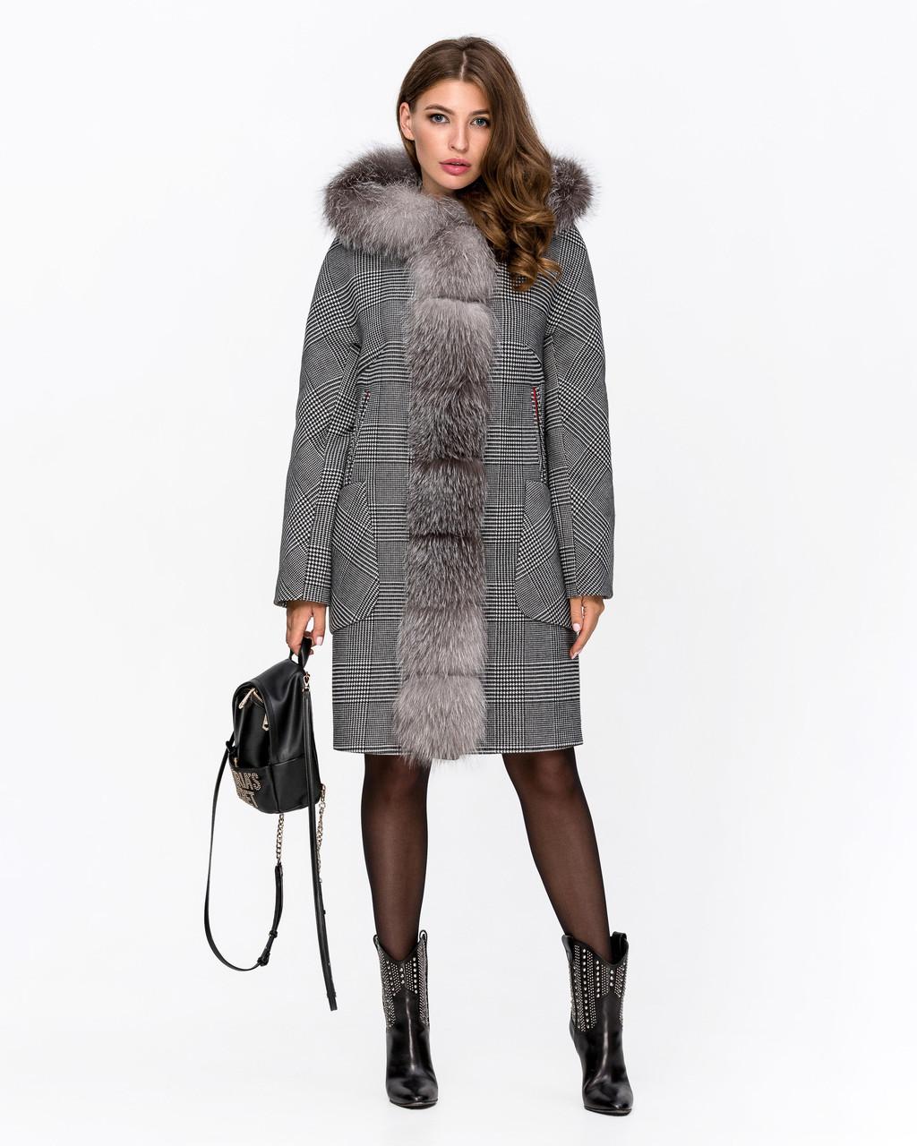 Зимнее женское пальто Оверсайз в клетку с капюшоном