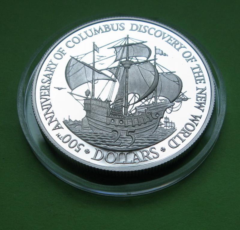Белиз 25 долларов 1989 г. Парусник ,корабль.