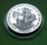 Белиз 25 долларов 1989 г. Парусник ,корабль., фото 1