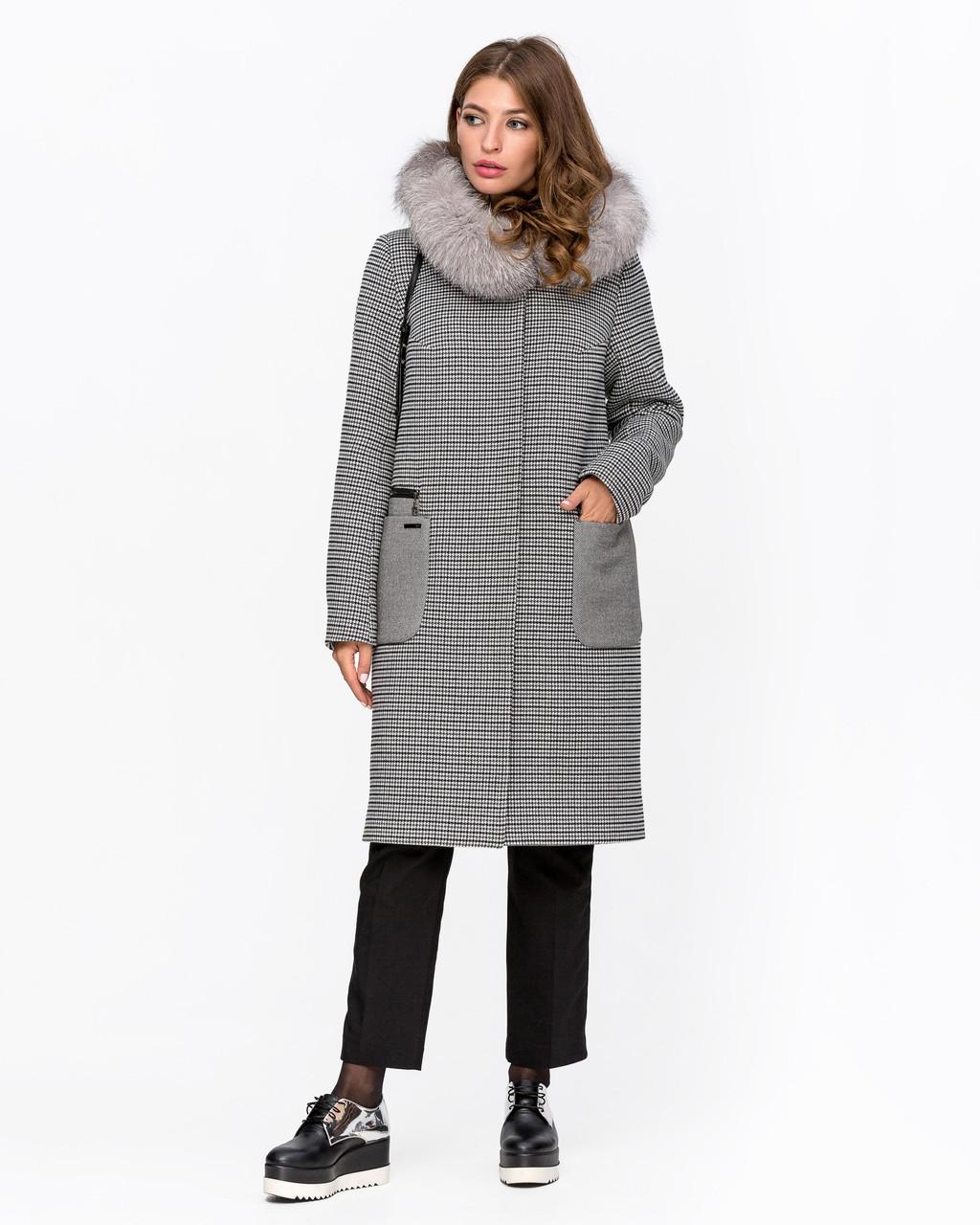 Зимнее женское пальто Оверсайз с принтом Гусиная лапка