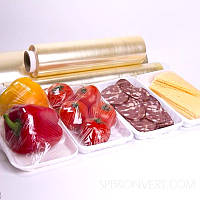 Пищевая пленка упаковочная ПВХ, желтая, фиолетовая, 450мм х 300м