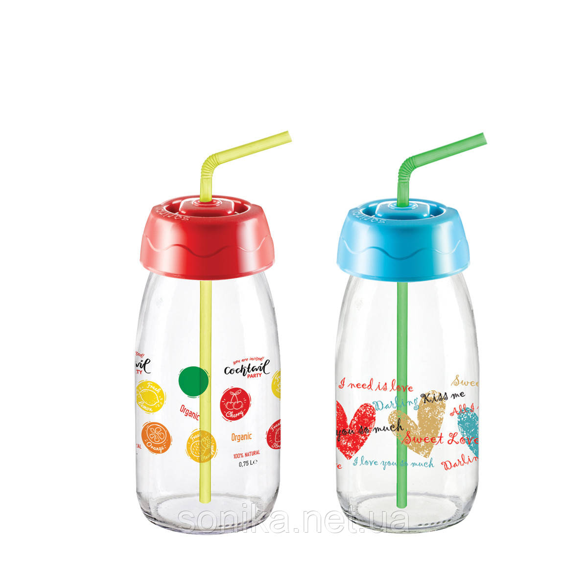 Пляшка для напоїв з трубочкою Sarina 250мл.