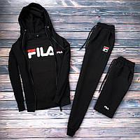 Спортивный костюм мужской в стиле FILA black осенний / весенний