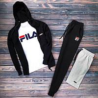 Спортивный костюм мужской в стиле FILA black осенний / весенний Фила