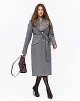 Зимнее женское пальто с шалевым меховым воротником