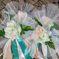 Букетики на ручки машини кремово-персикові рози