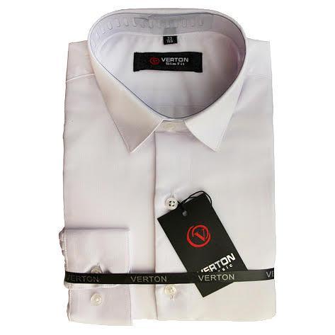 Классическая рубашка для мальчика Verton   длинный рукав приталенная белая