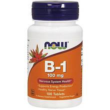 """Витамин В1, NOW Foods """"B-1"""" для здоровья нервной системы, 100 мг (100 таблеток)"""