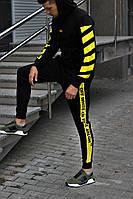 Спортивный костюм мужской весенний-осенний Off White черный с желтым. Живое фото