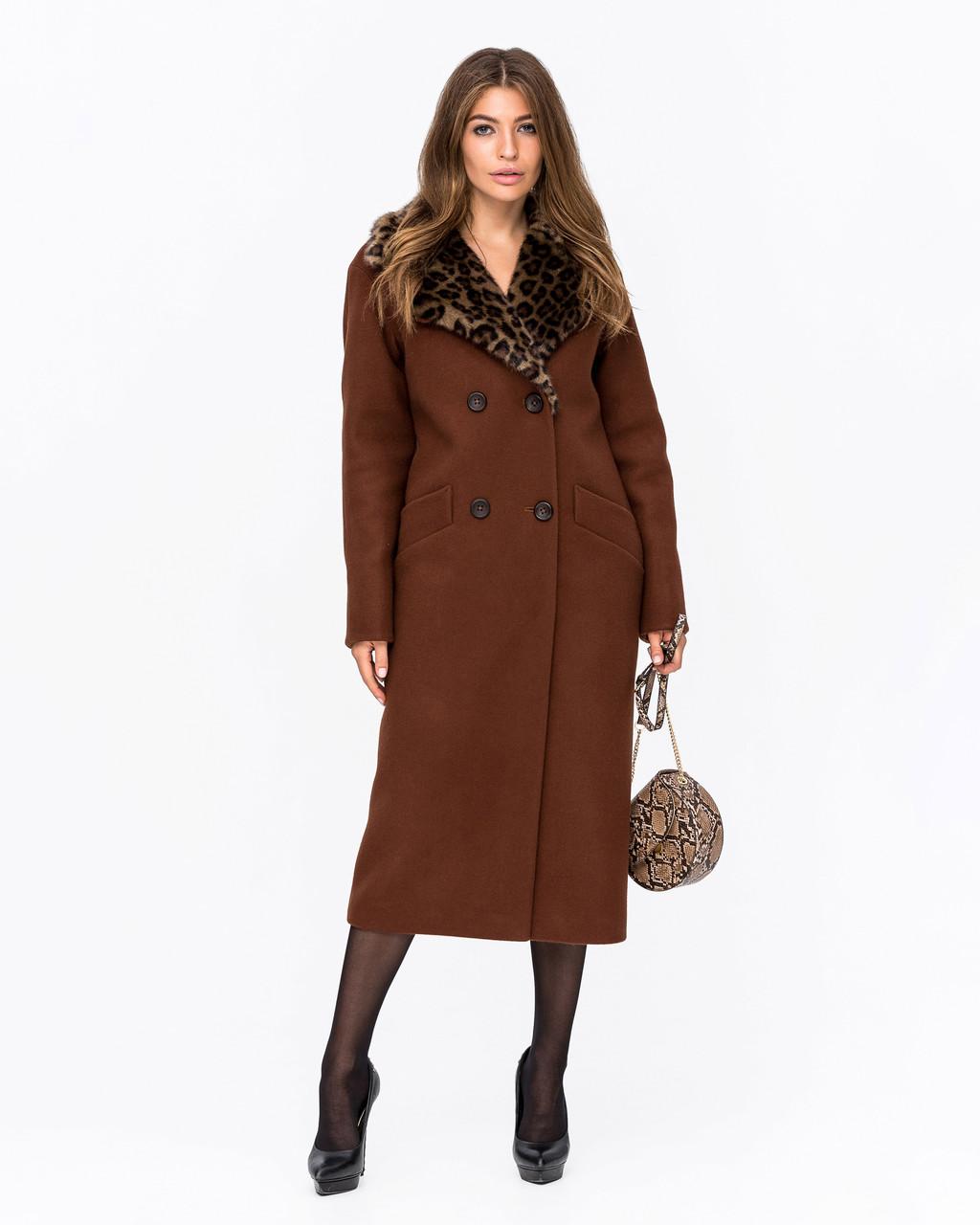 Зимнее женское пальто с леопардовым воротником