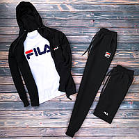 Спортивный костюм мужской в стиле FILA / Кофта с капюшоном  + штаны | весенний осенний
