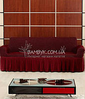 """Vip чохол на 3-х містний диван Altinkoza """"соти"""" натяжна з оборкою бордового кольору"""